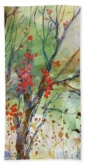 Winter Berries Beach Towel