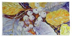 Beach Towel featuring the painting Winter Berries by Joanne Smoley