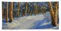 Winter Birch Road Beach Towel