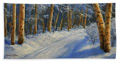 Winter Birch Road Beach Towel