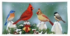 Winter Birds And Christmas Garland Beach Towel by Crista Forest
