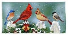 Winter Birds And Christmas Garland Beach Sheet by Crista Forest