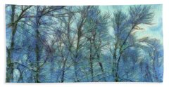 Winter Blue Forest Beach Sheet