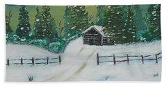Winter Cabin Beach Sheet