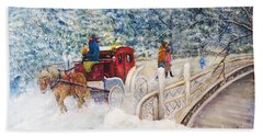 Winter Carriage In Central Park Beach Sheet
