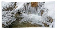 Winter Cascade Nh Beach Towel by Michael Hubley