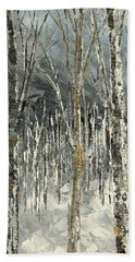 Beach Sheet featuring the painting Winter Country by Tatiana Iliina