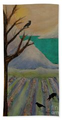 Winter Crows Beach Towel by Jeanette French