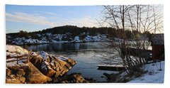 Winter Day By The Oslo Fjords, Norway.  Beach Towel