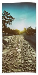 Winter Driveway Sunset Beach Towel