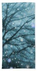 Winter Evening Snowfall Beach Towel
