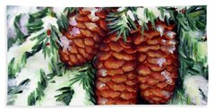 Winter Fir Cones Beach Towel by Inese Poga