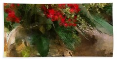 Winter Flowers In Glass Vase Beach Towel