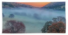 Winter Fog At Sunrise Beach Towel