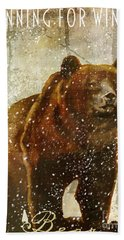 Winter Game Bear Beach Towel