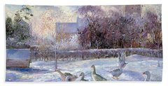 Winter Geese In Church Meadow Beach Towel by Timothy Easton
