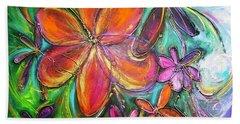 Winter Glow Flower Painting Beach Towel