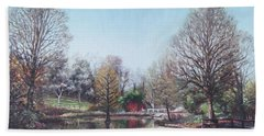 Beach Towel featuring the painting Winter Hilliers Garden Hampshire by Martin Davey