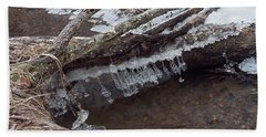 Winter Ice Dam Beach Towel