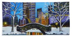 Winter In New York- Night Landscape Beach Towel