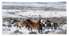 Winter In Sand Wash Basin - Wild Mustangs On The Run Beach Sheet