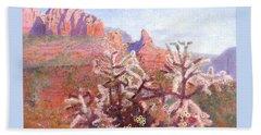 Beach Towel featuring the painting Winter In Sedona, Arizona by Nancy Lee Moran