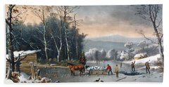 Winter In The Country Beach Towel