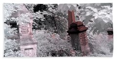 Winter Infrared Cemetery Beach Towel
