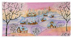 Winter Landscape, Painting Beach Towel