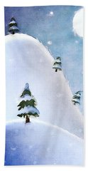 Winter Landscape Under Full Moon Beach Towel by Phil Perkins