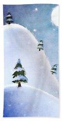 Winter Landscape Under Full Moon Beach Sheet by Phil Perkins