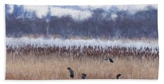 Winter Lapwings Beach Towel