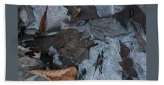 Winter Leaf Abstract-iv Beach Towel by Patricia Overmoyer