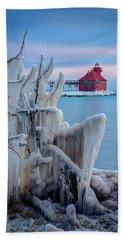 Winter Lighthouse Beach Towel
