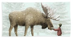 Winter Moose Beach Towel