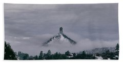 Winter Morning Fog Envelops Chimney Rock Beach Towel