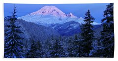 Winter Morning With Mount Rainier Beach Towel