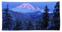 Winter Morning With Mount Rainier Beach Sheet