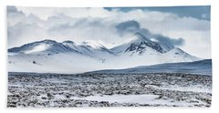 Winter Mountains Landscape, Iceland Beach Sheet