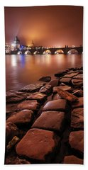 Winter Night Near Charles Bridge In Prague, Czech Republic Beach Sheet