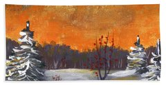 Beach Sheet featuring the painting Winter Nightfall #1 by Anastasiya Malakhova