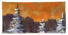 Beach Sheet featuring the painting Winter Nightfall #2 by Anastasiya Malakhova