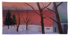 Winter Ocean Sunrise Beach Towel