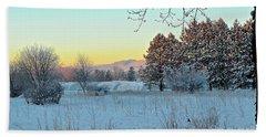 Winter On The Tree Farm Beach Sheet