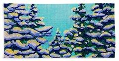 Winter Pines Beach Towel