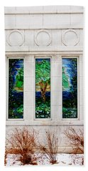 Winter Quarters Temple Tree Of Life Stained Glass Window Details Beach Towel