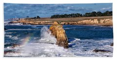 Winter Rainbows In The Surf Beach Towel