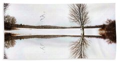 Beach Towel featuring the digital art Winter Reflection by Sue Collura