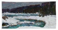 Winter River Beach Towel