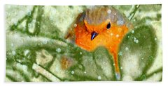 Beach Towel featuring the photograph Winter Robin by LemonArt Photography